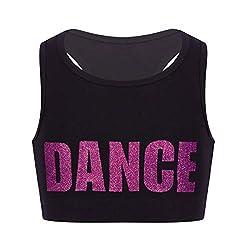 professional inlzdz Little Big Girls Sequin Crop Top Little Big Girls Racer Back Sports Bra Gym Ballet Sports Bra