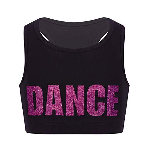 dPois Mädchen Sport BH Crop Tops Tanz Bauchfrei Oberteile Shirt T-Shirt Bustier Kinder Tanzanzug Yoga Training Weste Bralette Ballettanzug Sportanzug Rose 128/8Jahre