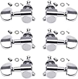 HQDeal 6PCS 3L3R Acoustic Guitar Tuning Pegs Machine Head Tuners, Knobs Tuning Keys, Wear-Resistant, Guitar String Tuning Pegs Machine, Enclosed Locking Tuners for Electric or Acoustic Guitar- Chrome