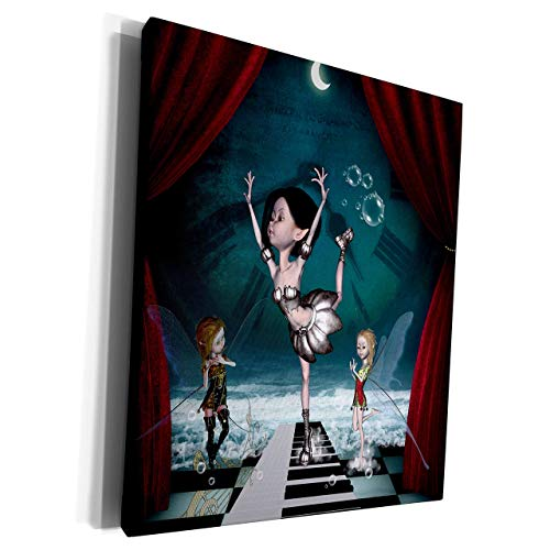 Unframe Canvas Printing Wall Art 20x25 Heike K?Hnen Design Fairies Farytale Fairy Dancing On A Piano On The Beach Framed Canvas Art Picture Print Wall Decoration for Living Room/Bed Room