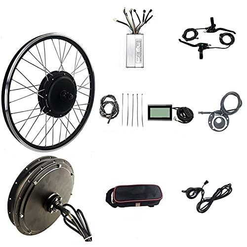 SKYWPOJU Kit di Conversione Bici Elettrica Kit di conversione Bici Kit Bici elettrica Motore Ruota Posteriore 48V 1500W con Display KT-LCD3 (Color : Cassette flywheel, Size : 26')