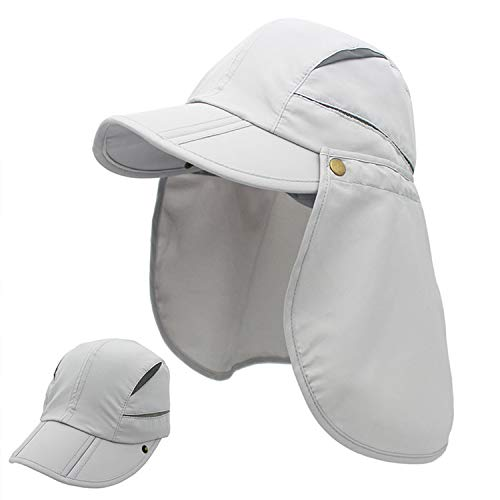 LLmoway Mens Womens Fishing Hat Sun Protection Hat with Neck Flap Breathable Quick Dry Cap Beige