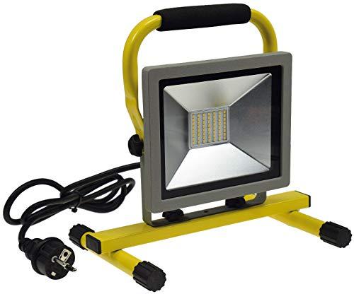 ChiliTec LED Baustrahler Arbeitsleuchte Fluter 30Watt I 2100 Lumen neutralweiß 4200k Ständer 1,4m Kabel Sicherheitsglas I Standfuß