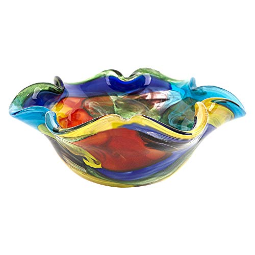 Murano Style Art Glass Stormy Rainbow 8.5' Wavy Bowl by Badash