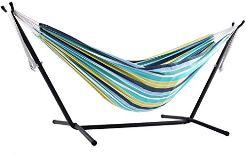 Pakopjxnx Hammock with, Cotton, 250 cm, Capacity 200 kg Transport bag included, Double, Cayo Reef