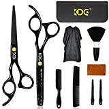 KDG 11 Pcs Hair Scissors,Professional Hair Cutting Scissors Set Haircut Scissors Kit with Cutting Scissors Home Thinning Shears Comb Cape Clips Hairdressing Shears with Case for Home Women & Men