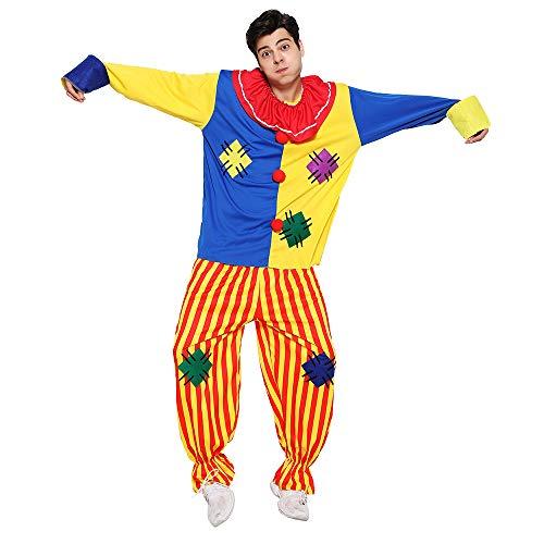 EraSpooky Adulto Circo Clown Costume Colorato Halloween Festa Joker Role Play