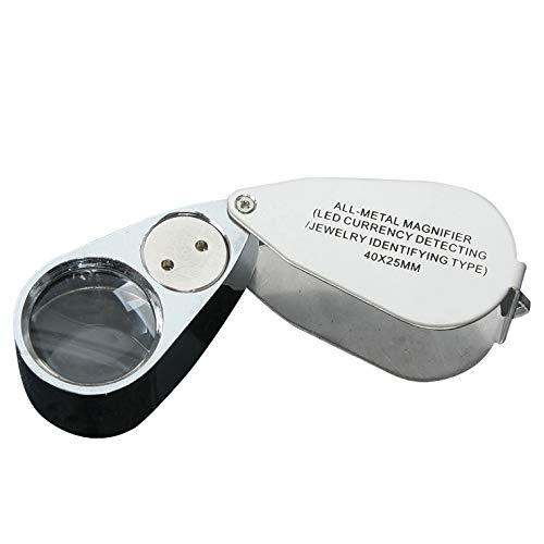 40X Lupa de Bolsillo plegable portátil Lupa Joyero de metal LED Iluminado...