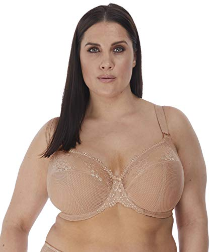 Elomi Women's Plus Size Charley Stretch Lace Underwire Plunge Bra, Fawn, 40GG