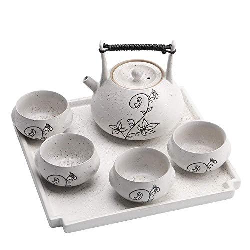 Juego de té chino Teteras Juego de té de la tarde Infusor de té Mango de la tetera La olla para filtrar el té Juego de té creativo Juego pequeño Bandeja de cerámica simple Mesa de té Ceremonia del té