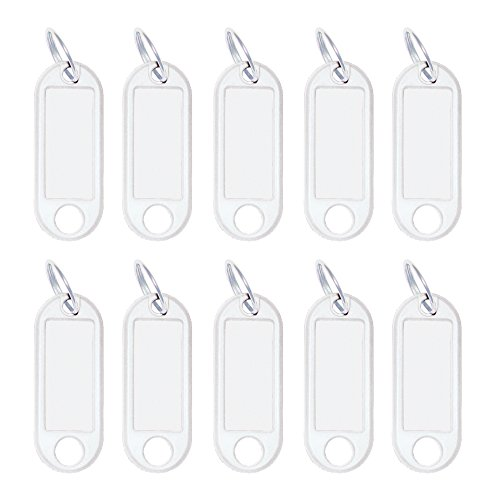 Wedo 262101800 Schlüsselanhänger Kunststoff (mit Ring, auswechselbare Etiketten) 10 Stück, weiß