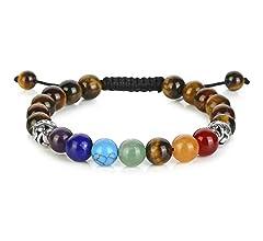 Hamsa Hand Chakra Gemstone Bracelet Lava Stone Crystal Reiki Healing Balancin nb