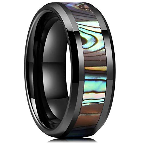 King Will Nature 8mm Black Ceramic Wedding Ring Engagement Band Abalone Shell Inlay Polished Beveled Edge11.5