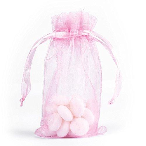 takestop® zak 50 stuks organza 5 x 14 cm snoepjes bruiloft verjaardag rijst confect cadeau