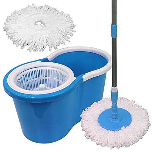 WEIMALL回転モップフロアモップバケツ付きスペアモップ付き洗浄脱水水拭き乾拭きフローリング(ブルー)