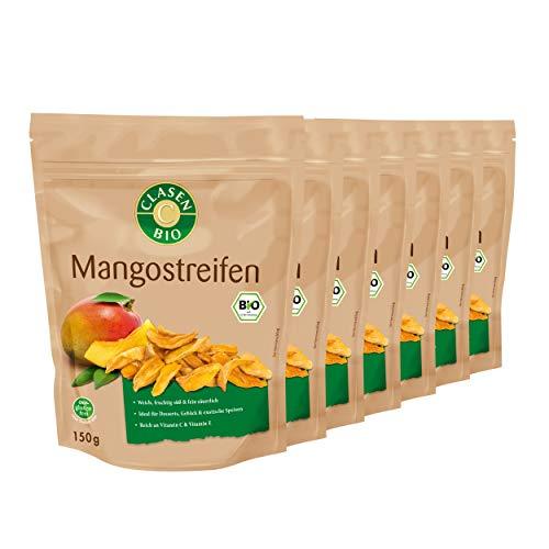 7x CLASEN BIO Mangostreifen, getrocknet, ohne Zuckerzusatz, ungeschwefelt, vegan und glutenfrei - 150 g
