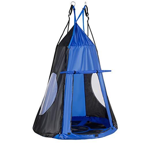 GOPLUS 100 cm Nestschaukel mit Zelt, Rundes Hängezelt, Gartenschaukel mit bis zu 100 kg Belastbar, 100–160 cm Verstellbar, mit Stahl-Rahmen, mit Tür, für Kinder & Erwachsene, Outdoor & Indoor (Blau)