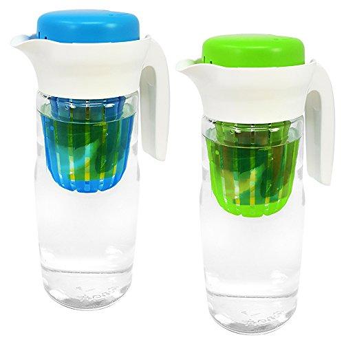 COM-FOUR® 2x glazen kan met open handvat en deksel - glazen karaf met fruitinzet - kan voor fruit spritzer - tot 1,4 liter (02 stuks - mix)