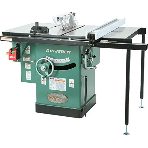"""Grizzly Industrial G1023RLW - 10"""" 3 HP 240V Cabinet Table Saw with Built-in Router Table"""