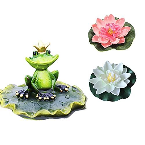 Mini Teich Deko Set Frosch im Blatt Teichfigur mit Krone Schwimmfrosch und 2 Lotus Miniteich Terrassenteich Zinkbadewanne Solarbrunnen Garten Balkon Teichdekoration