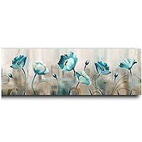 壁の芸術、青い花抽象的な油絵絵画花のポスターとプリント壁の芸術の写真リビングルームフレームなし