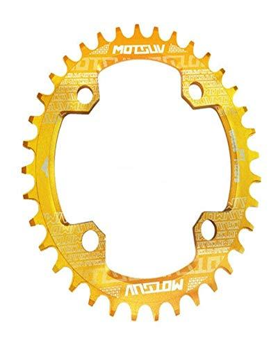 XUJINQI Horquilla de Bicicleta de montaña, Estrecho Ancho Chainring MTB Bicicletas 104BCD Piezas Diente de Placas (Color : Yellow)