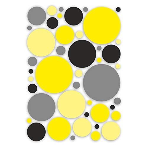 Aufkleber-Set Kreise I schwarz-gelb I Ø 1 bis 8 cm I Sticker für Bad Küche Glas-Tür Fahrrad Laptop Handy Auto-Aufkleber I wetterfest I dv_414