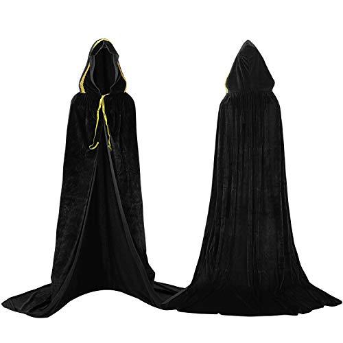 Proumhang Nero Mantello con Cappuccio Vampiro Maxi Cape Velvet Costumi di Carnevale di Halloween Adulto