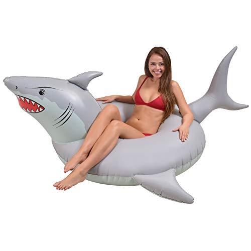 """GoFloats Boias infláveis para festa de tubarão """"Great White Bite"""" – Boias divertidas de piscina para adultos e crianças"""