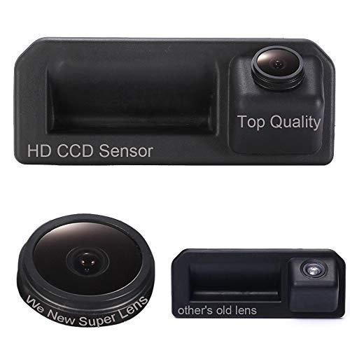 Dynavsal Caméra de Voiture 1280 * 720 Pixel 1000TV Lines Super Pro Caméra,Imperméable Vision Nocturne Grand Angle de 170 °, Poignée de Coffre Caméra de recul pour Audi A5 Q2 VW Skoda KODIAQ 2017