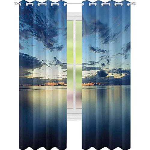 Cortinas térmicas con aislamiento, foto larga de la dramática puesta del sol sobre la calma paz trópico Azure Lagoon Ocean, W52 x L72 Cortinas opacas para niñas sala de estar, azul