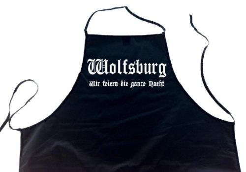 ShirtShop-Saar Wolfsburg - Wir feiern die ganze Nacht; Schürze (Latzschürze - Städte, Grillen, Kochen, Berufsbekleidung, Kochschürze), schwarz