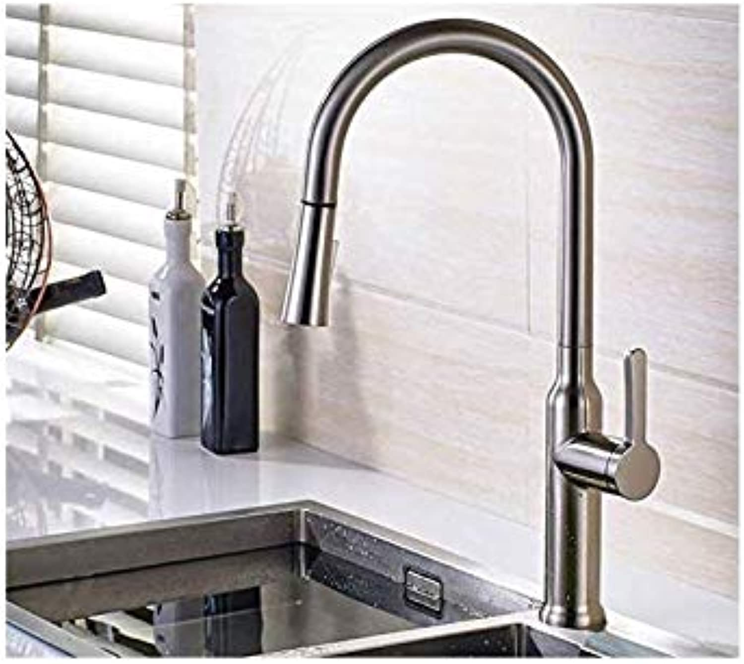 Kitchen Fauct Pulling Out Kitchen Faucet Polished Nickel Finish All Around redating Swivel 2-Functional Water Sink Deck Mounted Faucets C046N
