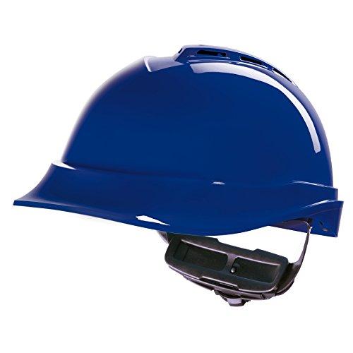 Casco de Protección MSA V-Gard 200 con Ventilación y Ajuste por Trinquete FasTrack - Casco de Trabajo Casco de Seguridad Casco de Construcción, Color: Azul