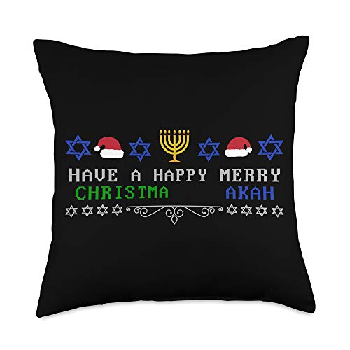 InGENIUS Christmas Kwanzaa Hanukkah Gifts Happy Merry Christmas Kwanzaa Hanukkah Mixed Religions Throw Pillow, 18x18, Multicolor