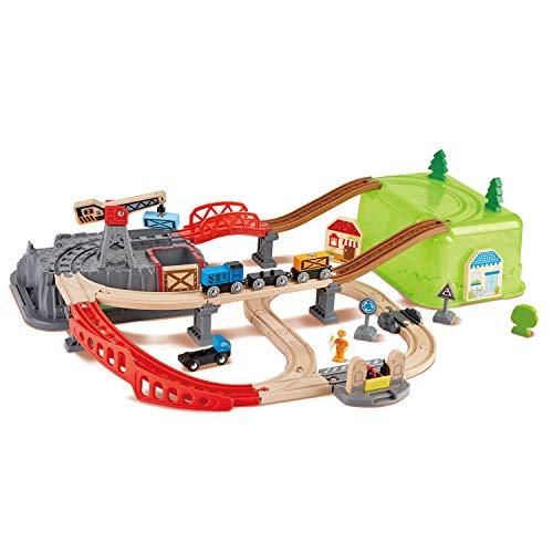 Hape- Coffret de Train de 50 pièces avec boîte de Rangement, E3764