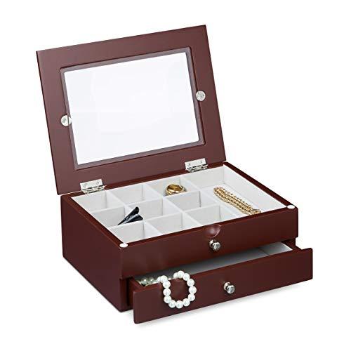 Relaxdays sieradendoosje met 1 lade, afmetingen: 9 x 22 x 18 cm, kleine sieradenkist voor kettingen, ringen, armbanden, met raam, rood-bruin