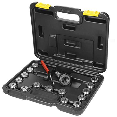 ECD Germany Juego de pinzas MT3 ER32 portabrocas con llave de mandril 15x ER32 - Ø3-20 mm - Herramienta máquina fresadora CNC - de acero C45 - Incluye caja de almacenamiento