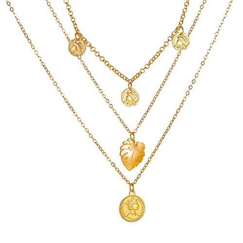 Collares Colgante Joyas Nuevos Collares para Mujer, Colgante De Corazón, Cadena De Clavícula, Conjunto De Collar De Oro Multicapa, Jewelry-43651