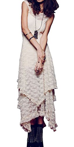 R.Vivimos Womens Sleeveless Backless Asymmetrical Layered Lace Long Dress with Slip Two Pieces (XL, Beige)
