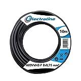 Electraline 10921 Couronne de Cable H03 VVH2-F 2X0,75 10M Noir