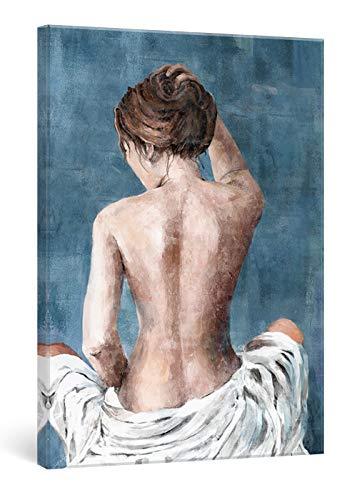 SUMGAR Cuadros en Lienzos Modernos Abstractos Minimalistas con Sexy Mujer en Blanco y Azul Decorativo Pared Pintura Sala de Salón Dormitorios Baño 40 x 60 cm Regalos San Valentin