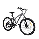hosote 26 inch Full Suspension Mountain Bike, Shimano 21 Speed Dual Disc Brake, High Carbon Steel, Suitable for Men and Women Cycling Enthusiasts - US Stock