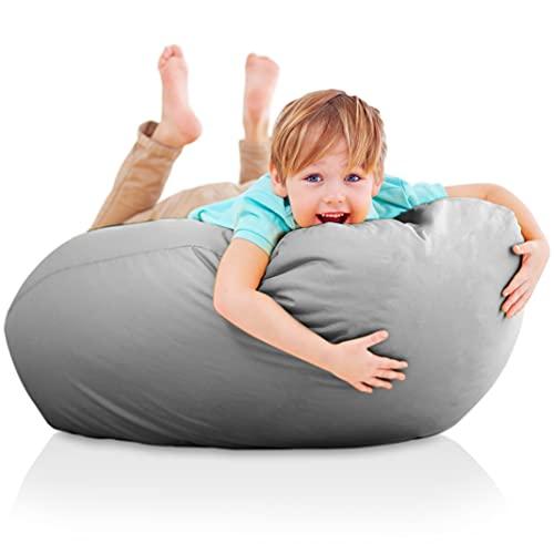 Funda de Puff Infantiles XXL - Sillon Infantil sin Relleno para Decoracion Habitacion Niña - Silla, Sofa o Puf Gamer - Sillon Bebe Gigante Gris - Originales Regalos para Niños de 6 a 12 Años