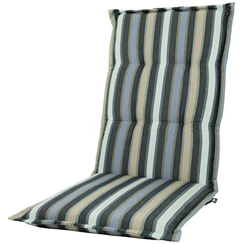 Kopu®-kussen hoge rug Leeds Blue | Tuinkussen voor standenstoelen | Blue tuinkussen 125 x 50 cm | Gestreept kussen in de kleuren blauw, ecru en taupe | Stevig schuim voor extra comfort