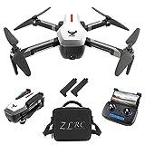 Goolsky SG906 GPS Drone 4K sin escobillas con cámara Bolso 5G WiFi FPV Flujo óptico Plegable Altitud de posicionamiento Sostén RC Quadcopter Drone (Blanco, Bolso y 2 Baterias)