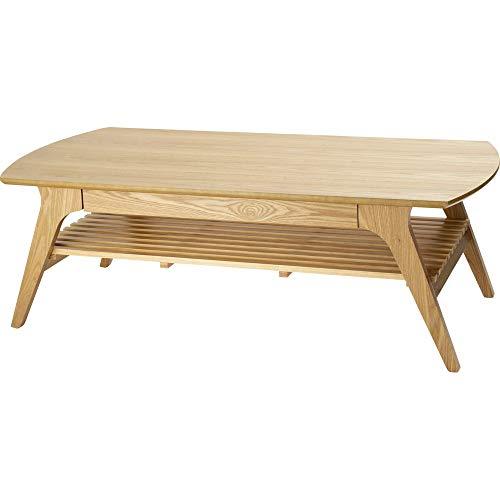 アイリスプラザ ローテーブル 収納 引出し ナチュラル 120×60×40 収納付きテーブル DLT-1200