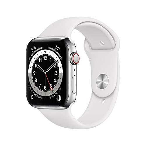 AppleWatch Series6 (GPS+ Cellular, 44mm) Edelstahlgehäuse Silber, Sportarmband Weiß