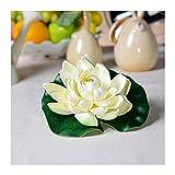 Flores Artificiales Flores artificiales 10 PCS Lotus artificial Lotus realistas Lily Lily Pads Hojas de lotos de espuma flotantes para jardín Koi Pescado Estanque Aquarium Pool Decoración de la boda R