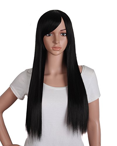 MapofBeauty 28 Pouce/70cm Frais Et Lumineux Perruque Droit Longue Cheveux (Bruntre Noir)